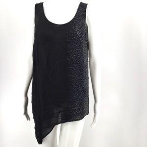 EILEEN FISHER Top M Silk Asymmetrical Hem Tunic